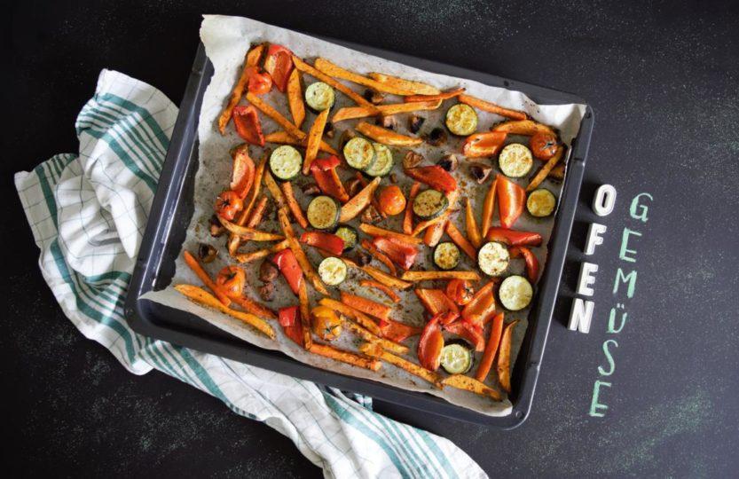 Ofengemüse mit Süßkartoffelpommes