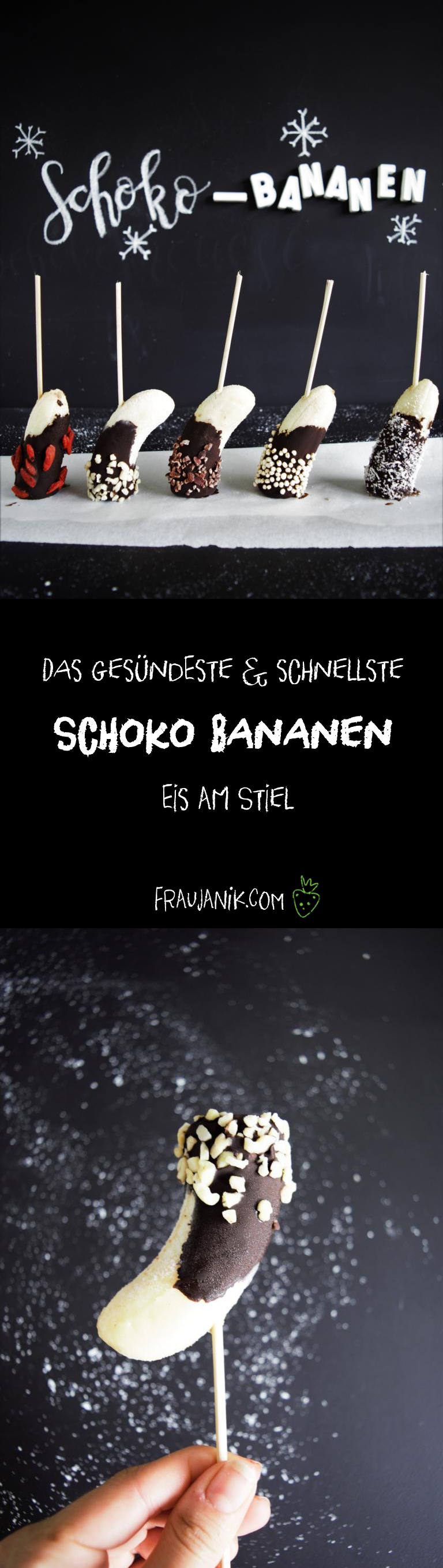 Schoko Bananen Eis am Stiel