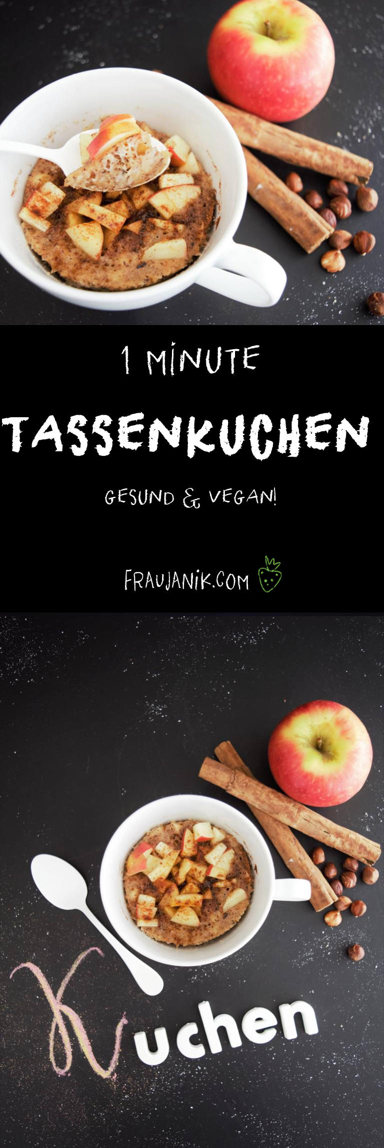 Tassenkuchen gesund und vegan Apfel Zimt