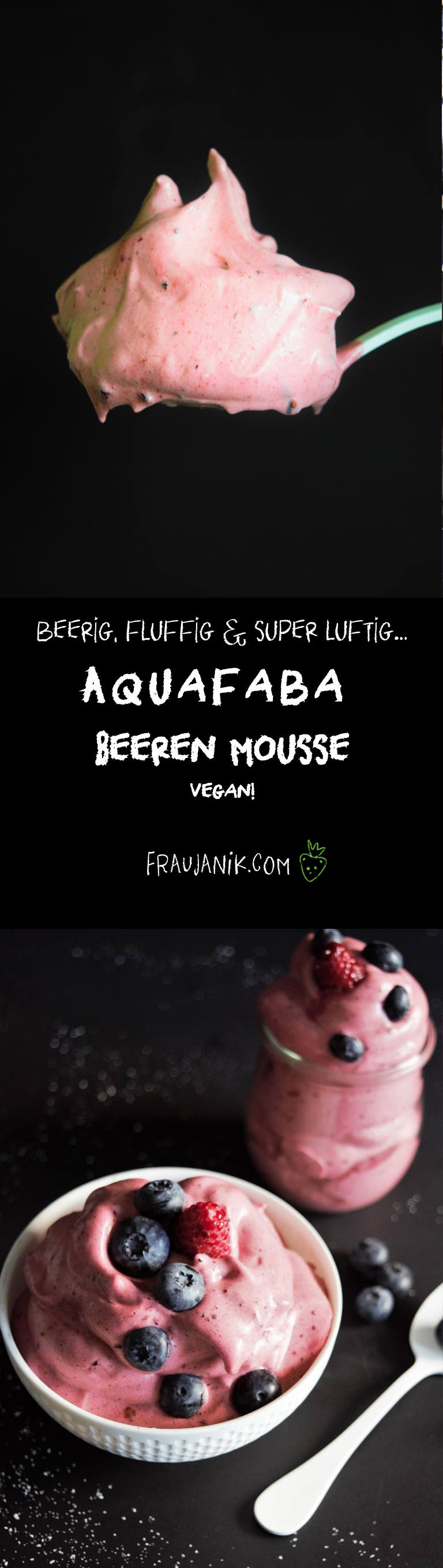 Aquafaba Mousse, vegan, beeren