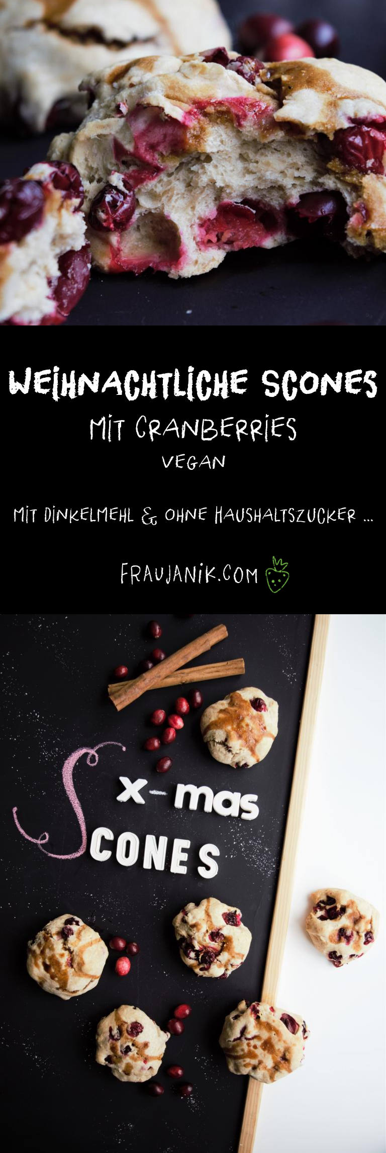 Scones Cranberrys, vegan, ohne zucker