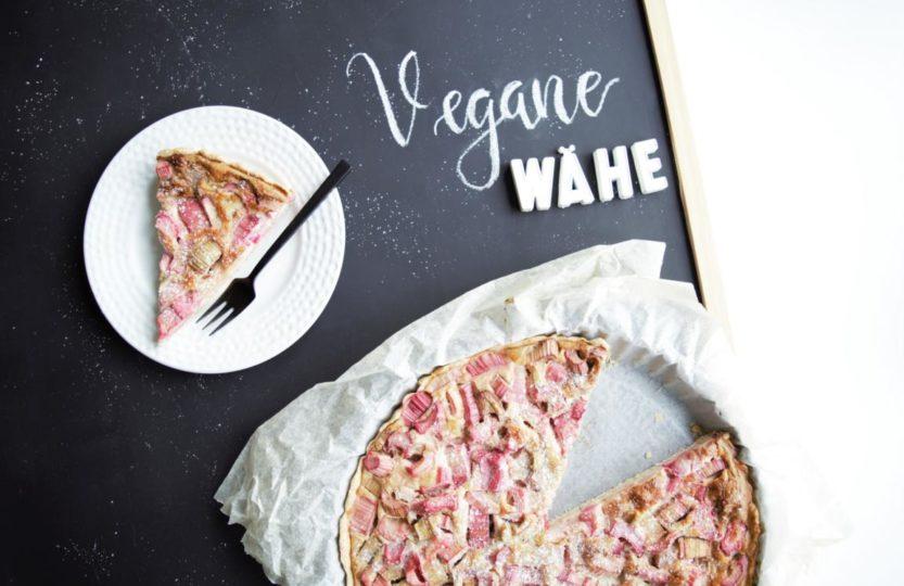 vegane Wähe, vegane Waie, Rhabarberwähe