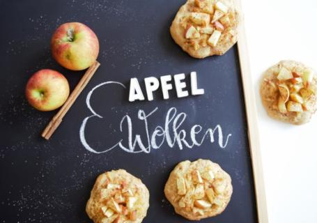 Apfelwolken, Quark-öl-teig vegan, Apfelkleingebäck