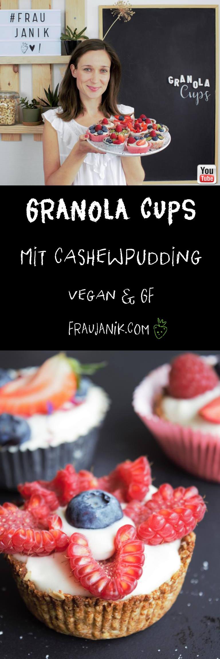 Granola Cups,vegan mit Cashewpudding