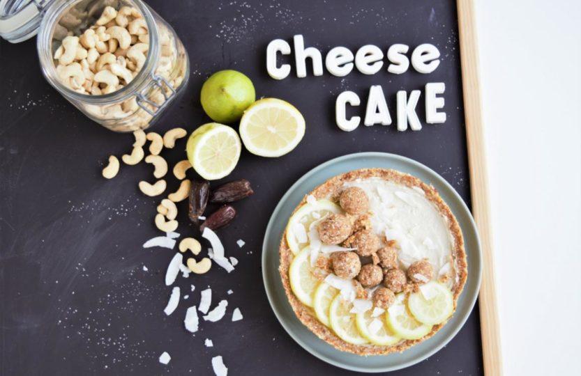 raw Cheesecake, vegan, roher Käsekuchen, kuchen mit datteln, cashews, zitronenkuchen, kühlschranktorte, no bake torte, eistorte