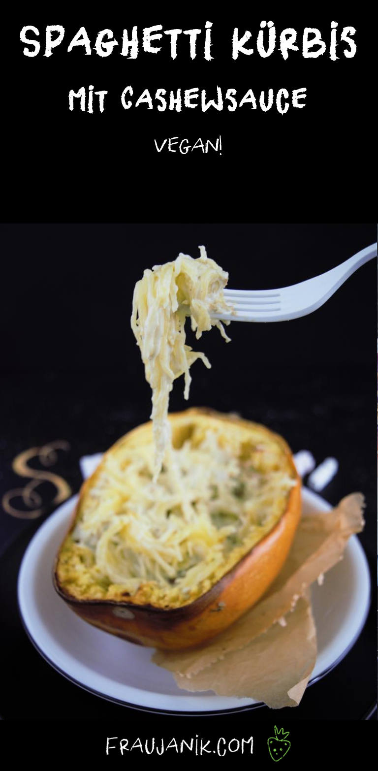Spaghetti Kürbis mit cashewsauce, vegan