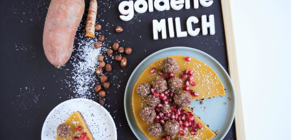 goldene Milch Torte, kuchen, süsskartoffelkuchen, vegan, glutenfrei, kurkuma latte, frau janik