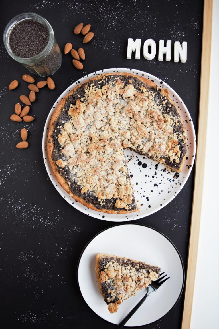 Mohnkuchen vegan, weihnachtskuchen, streuselkuchen, gesunder kuchen, quark-öl-teig, frau janik