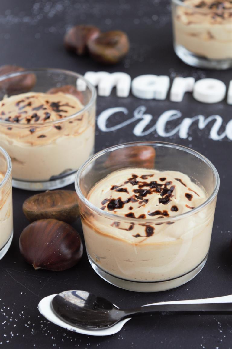 Maroni Creme - Dessert im Glas | vegan, aus dem Mixer, super cremig & glutenfrei,Frau Janik
