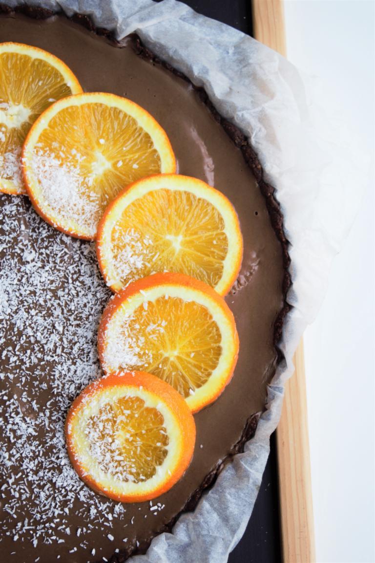 cremige Schoko-Orangen-Tarte | vegan, Schokotarte, fraujanik