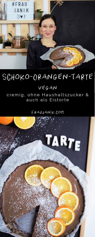 cremige Schoko-Orangen-Tarte   vegan, Schokotarte, fraujanik