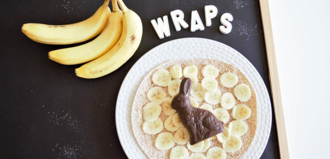 Bananen Schoko Crepes, Wraps, Tortillas, Süsse Tortillas, gesunder Snack, schnelles Dessert, Vollkorntortillas, Dessert für kindergeburtstag, frau janik, ostern