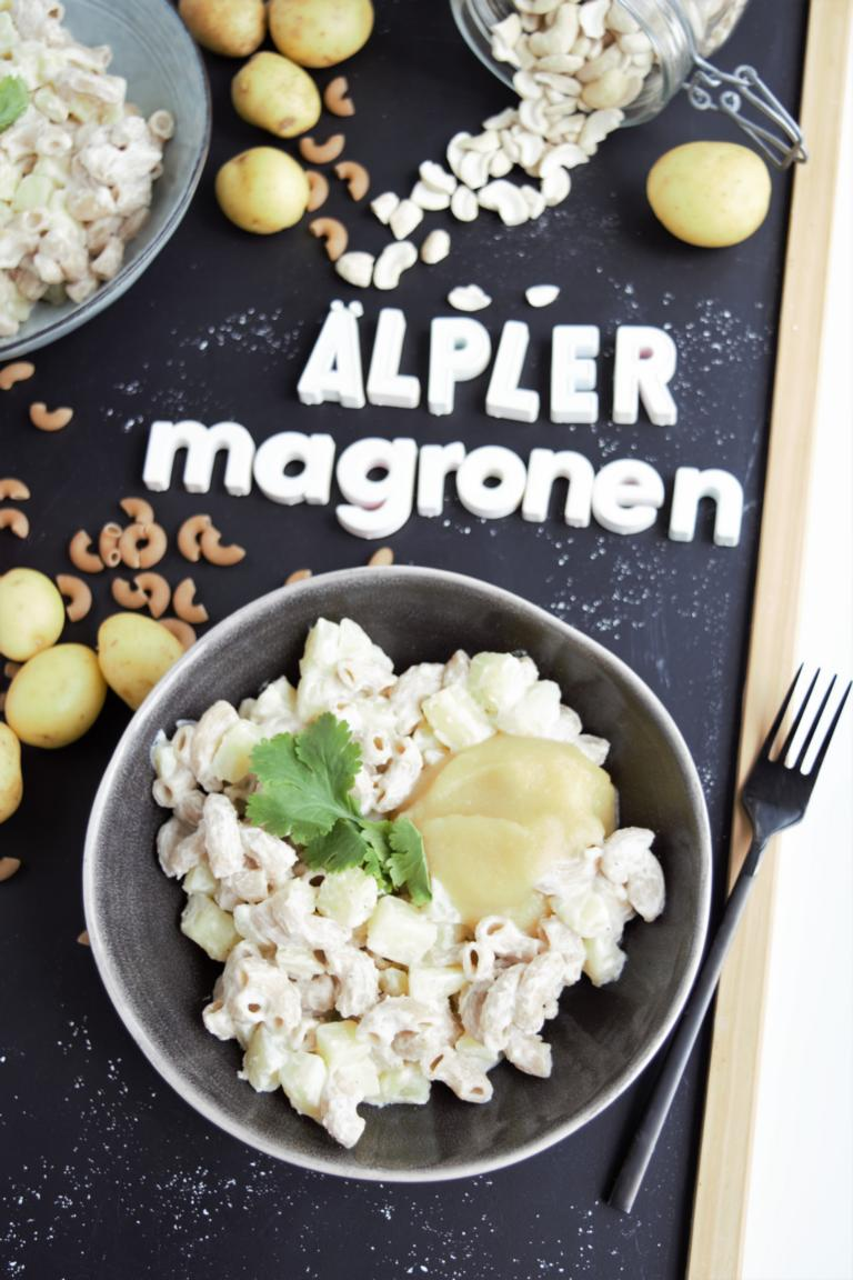 Älplermagronen, vegan, Apfelmark, gesunde Älplermagronen, gesund kochen, mittagessen, Dinkelvollkornnudeln, fraujanik