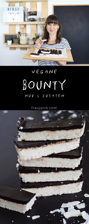 Bounty selber machen, gesund, vegan, laktosefrei, glutenfrei, kokosriegel, bountyriegel, kokos, schoko-kokos-riegel, fraujanik