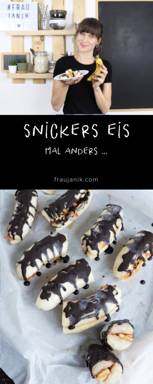 Snickerseis, snickers selber machen, Eis, snack, nicecream, Bananeneis, Snicker Eis, Erdnusseis, frau janik