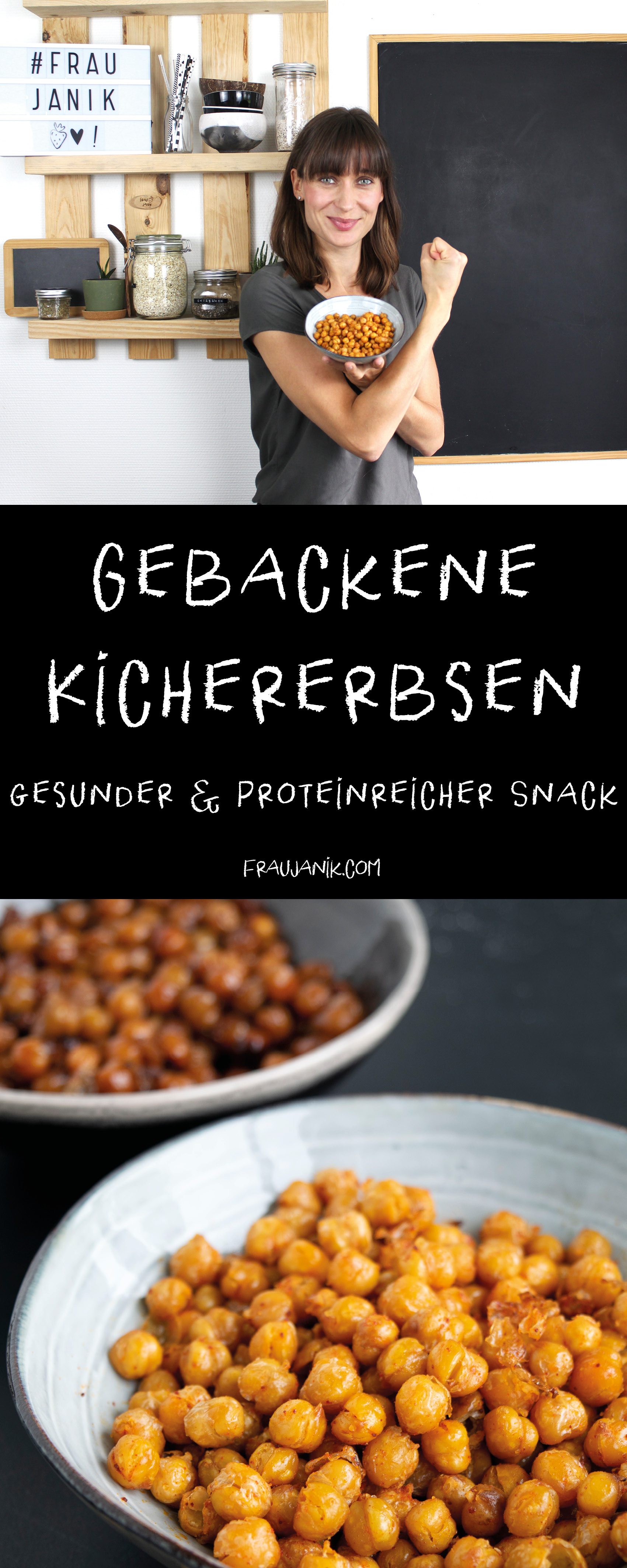 gebackene Kichererbsen | gesunder Proteinsnack, frau janik